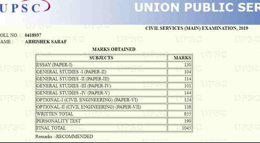 Upsc Topper IAS Abhishek Saraf Marksheet AIR-8