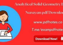Analytical Solid Geometry by Shanti Narayan pdf Download