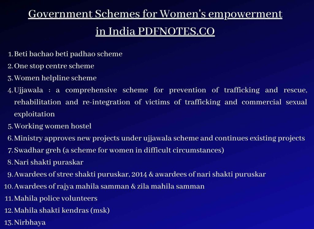 Government Schemes for Womens empowerment in India pdf 2021