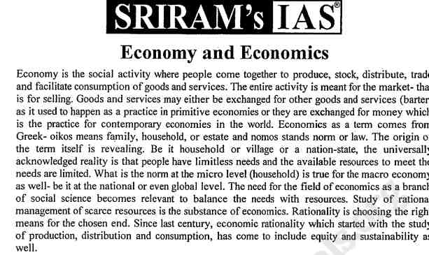 Sriram IAS Economy Notes 2021 pdf