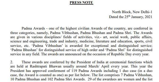 [PDF] Padma Awards 2021 List pdf Download