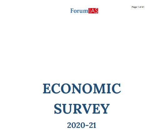 Download Free PDF Of Forum IAS Economic Survey 2020-21 Volume 1 and Volume 2 pdf for UPSC IAS Exam