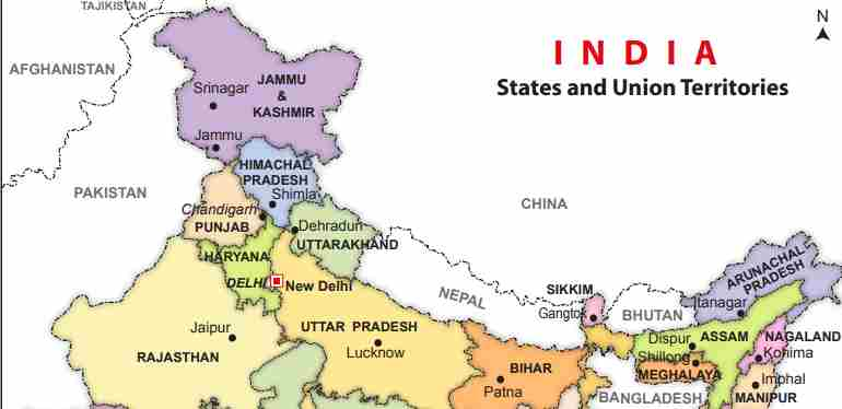 India Map with States & Capital PDF Download