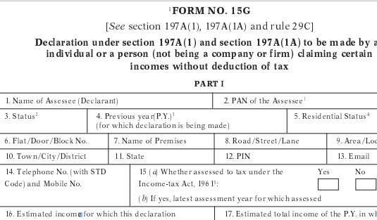 You are currently viewing Form 15g PDF Download
