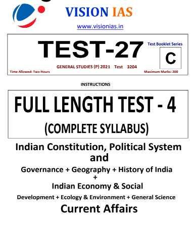Vision IAS Prelims 2021 Test 27 PDF Full Length Complete Syllabus