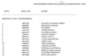 UPSC IES/ESE Engineering Services 2020 Final Result Declared