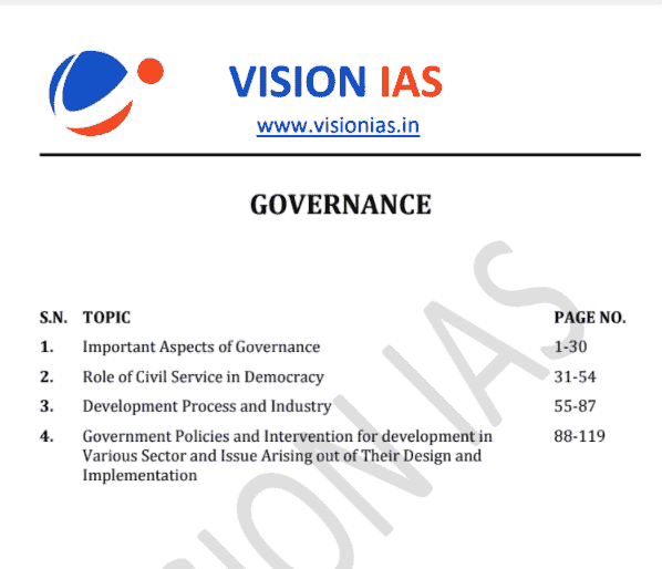 You are currently viewing Vision IAS Governance Notes 2021