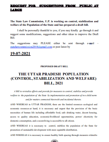 You are currently viewing UP Population Control Bill 2021 PDF