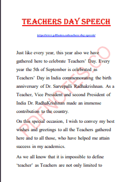 Read more about the article Teachers Day Speech in English 2021 PDF